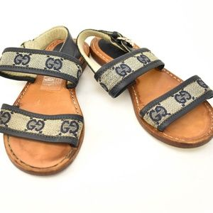 """GUCCI Navy Leather & """"GG"""" Logo, Sandals"""